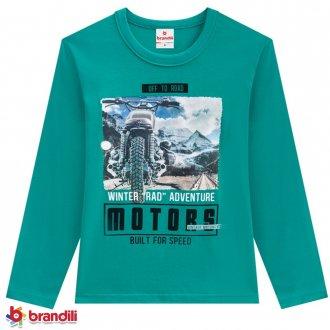 Camiseta Meia Malha Masculina Infantil Brandili