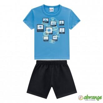 Imagem - Conjunto Meia Malha Masculino Infantil Abrange - 1074331_AZU-AZURE