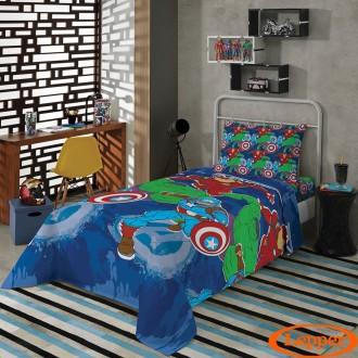 Imagem - Jogo de Cama Microfibra Vingadores C/ 2 Peças Marvel - Lepper - 1522560_azul-azul