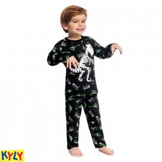 Imagem - Pijama meia malha dinossauro - KYLY - 1031898_9010-PRETO