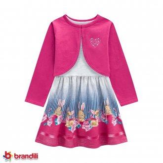 Vestido Meia Malha e Bolero Brandili