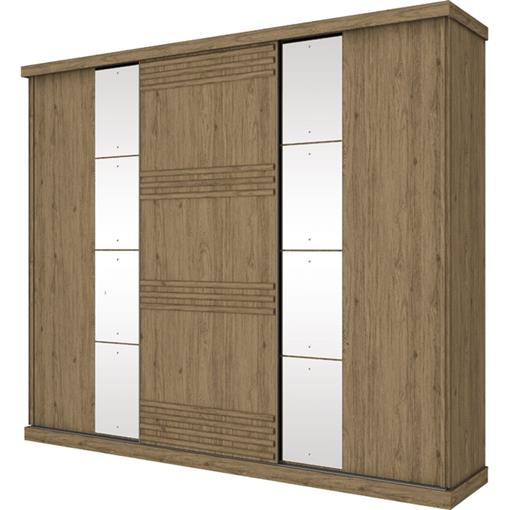 Guarda Roupa Casal Henn Magno 3 Portas c/Espelho Rústico