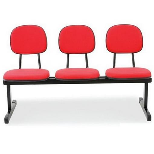 Longarina Secretária 3 Lugares em Tecido Vermelho MQ10 Pethiflex
