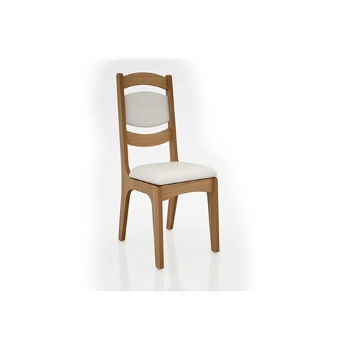 Cadeira Alta 25mm Assento e Encosto Estofado CA27 Dalla Costa Freijó com Linho Claro