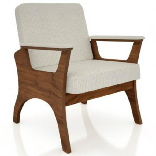 Poltrona Assento e Encosto Estofado CA53 Dalla Costa Nobre/Linho Claro