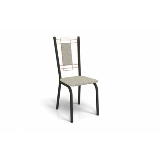 Cadeira Florença Crome 2 Peças 2C078 Kappesberg Preto Fosco com Rosê e Linho Marrom