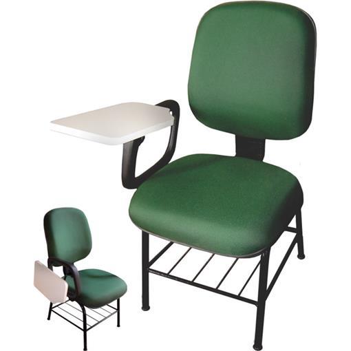 Cadeira Universitária Diretor Realme Braço Escamoteável em Tecido Verde