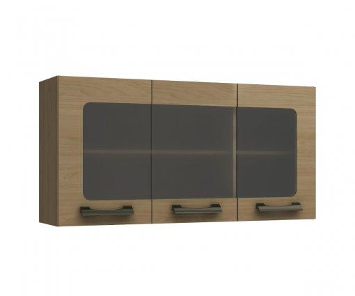 Armário de Cozinha Aéreo Kappesberg D737 3 Portas com Vidros Nature