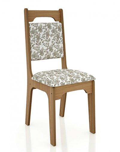 Cadeira Alta 18mm Assento Estofado CA29 Dalla Costa Freijó com Floral Claro