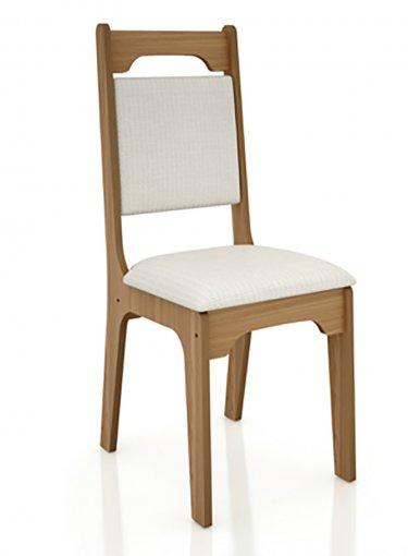 Cadeira Alta 18mm Assento Estofado CA29 Dalla Costa Freijó com Linho Claro