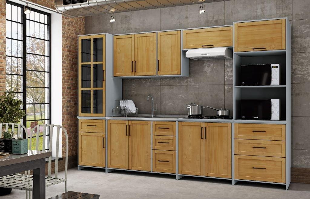 Cozinha 6 Peças Finestra Linha Cristal Cor Cinza C/ Carvalho
