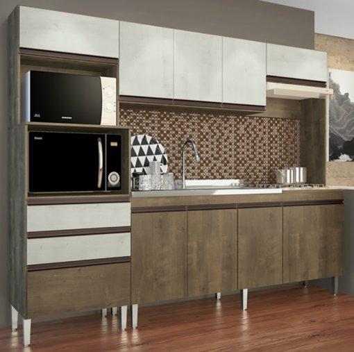 Cozinha Compacta Ariel 10 Portas e 2 Gavetas 268 Casamia Snow com Dark