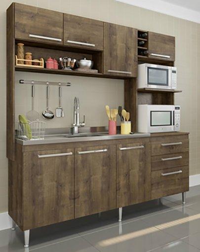 Cozinha Compacta Blume 8 Portas e 2 Gavetas 173 Casamia Dark com Dark