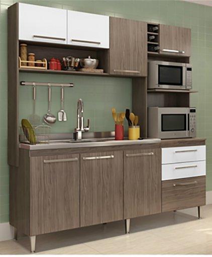 Cozinha Compacta Blume 8 Portas e 2 Gavetas 173 Casamia Nover com Branco