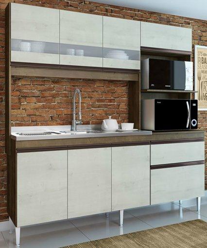 Cozinha Compacta Prince 7 Portas 2 Gavetas 245 Casamia Dark com Snow