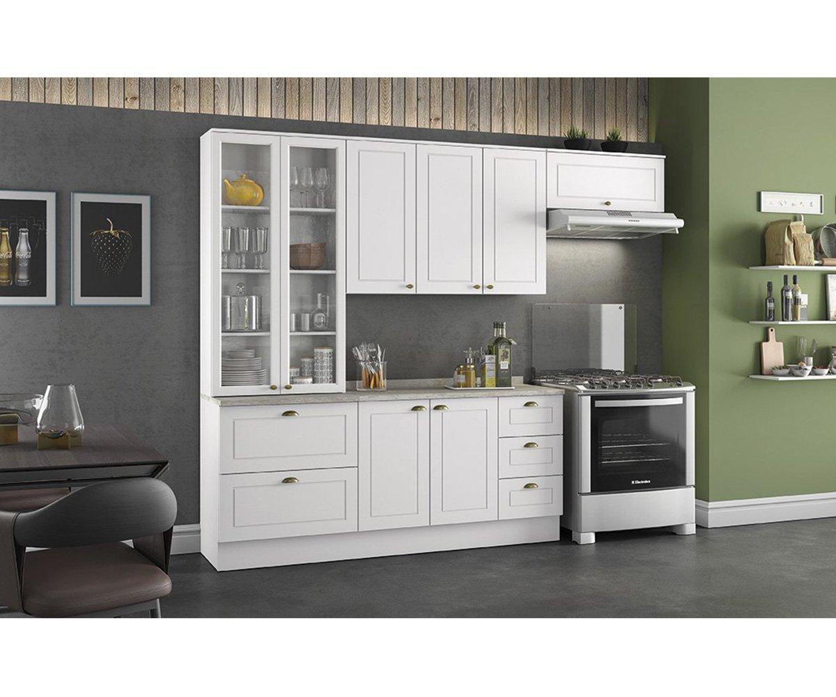 Cozinha Modulada Henn Americana com Cristaleira Branco HP 5 Peças
