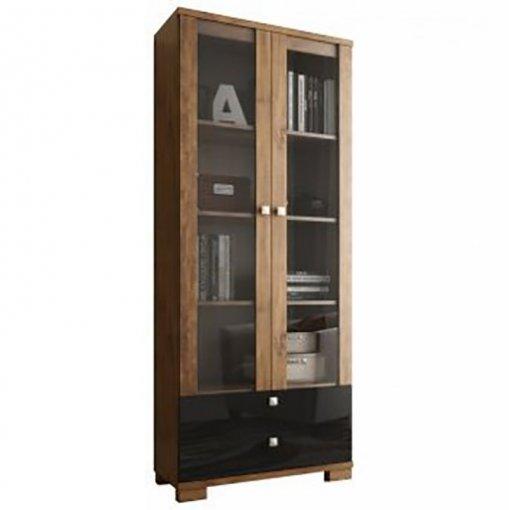 Estante para Livros com Porta de Vidro C604 Dalla Costa Nobre com Preto Brilho