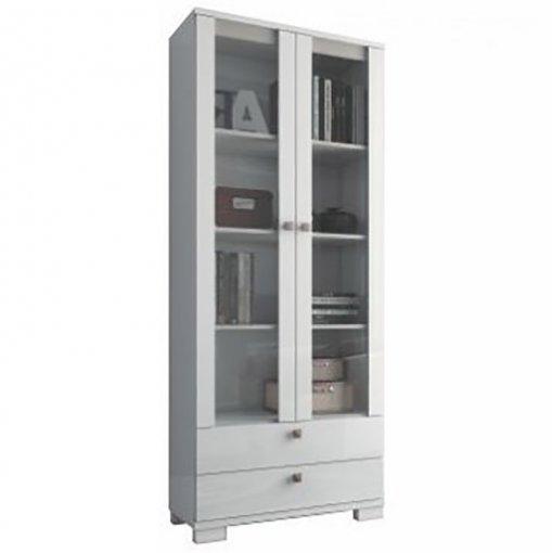 Estante para Livros com Portas de Vidro C604 Dalla Costa Branco Brilho