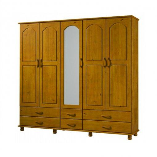 Guarda Roupa de Madeira Finestra Esmeralda 1415 5 Portas Teca