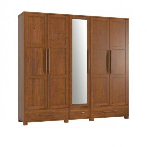 Guarda Roupa 05 Portas com Espelho 2110 Finestra Pérola Imbuia