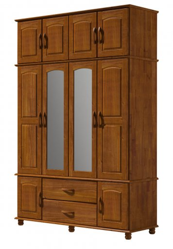 Guarda Roupa Finestra 1731 Onix Tripartido 10 Portas com Espelho Imbuia