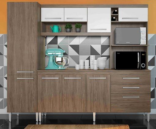 Kit Cozinha Bruxelas 10 Portas e 2 Gavetas 250 Casamia Nover com Branco