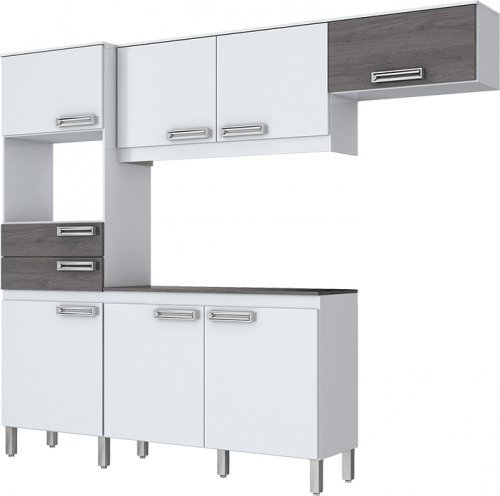 Kit Cozinha Compacta Briz 7 Portas 2 Gavetas Branco Gris