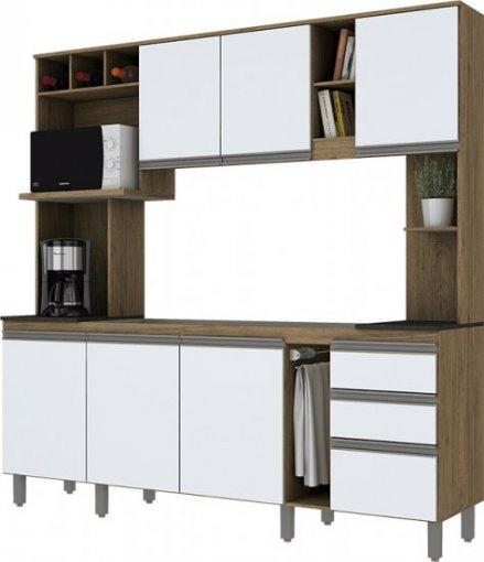 Kit Cozinha Compacta com Garrafeiro Briz Rústico Branco