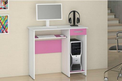 Mesa De Computador Siena New Notável Branco com Rosa