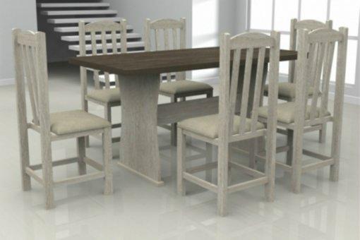 Mesa França Tampo Wengue MDF com 6 Cadeiras Rubi Móveis Dolimar Teka
