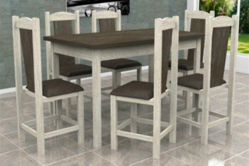 Mesa Itália Tampo Wengue com 6 Cadeiras Rubi Móveis Dolimar Teka
