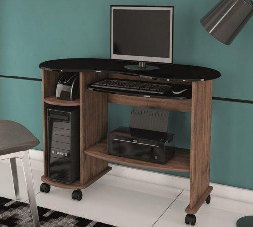 Mesa para Computador C18 Dalla Costa Nobre com Preto Brilho