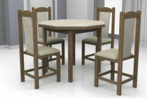 Mesa Romana Tampo Oitavado Teka MDF com 4 Cadeiras Rubi Móveis Dolimar Inovata