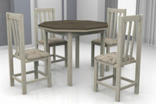 Mesa Romana Tampo Oitavado Wengue MDF com 4 Cadeiras Itália Móveis Dolimar Teka
