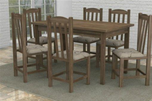 Mesa com 6 Cadeiras Móveis Dolimar Rubi em Madeira Maciça Rústica