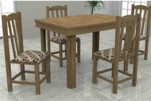 Mesa Verona Tampo MDF 4 Cadeiras Rubi Móveis Dolimar Inovata