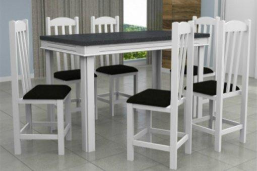 Mesa Verona Tampo MDF 6 Cadeiras Rubi Móveis Dolimar