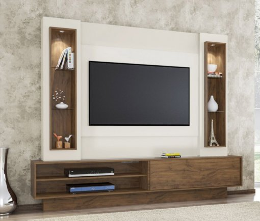 Rack com Painel 1 Porta de Correr com Led para TV TB129L Dalla Costa Off White com Nobre