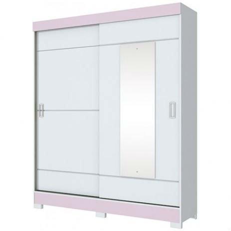 Guarda Roupa Briz 2 Portas Deslizantes 1 Espelho Branco/Branco e Rosa