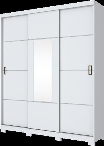 Guarda Roupa Henn Silver 03 Portas de Correr 02 Gavetas 1 Espelho Branco