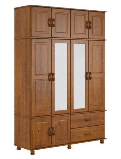 Roupeiro Tripartido Finestra 1750 Onix 10 Portas C/Espelho Imbuia