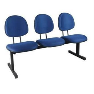 Imagem - Longarina Secretária 3 Lugares em Couro Ecológico Azul CE151 Pethiflex cód: 1192