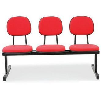Imagem - Longarina Secretária 3 Lugares em Tecido Vermelho MQ10 Pethiflex cód: 1196