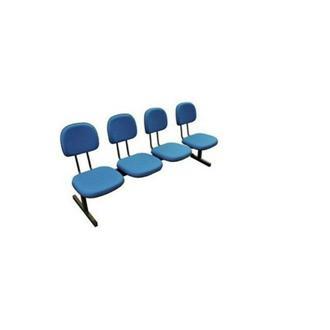 Imagem - Longarina Secretária 4 Lugares em Tecido Azul MQ09 Pethiflex cód: 1198