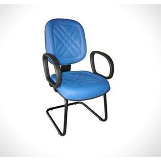 Imagem - Poltrona Diretor Base Fixa em Couro Ecológico Azul CE151 Pethiflex cód: 1402