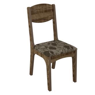 Imagem - Cadeira Assento Estofado CA12 Dalla Costa Rústico com Chenille Floral Escuro cód: 1739