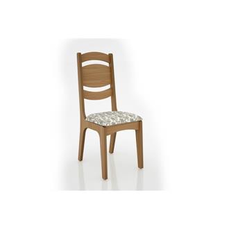 Imagem - Cadeira Alta CA26 25mm Assento Estofado Dalla Costa Freijó/Floral Claro cód: 2357
