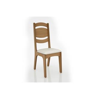 Imagem - Cadeira Alta CA26 25mm Assento Estofado Dalla Costa Freijó/Linho Claro cód: 2360