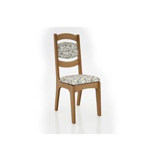 Imagem - Cadeira Alta 25mm Assento e Encosto Estofado CA27 Dalla Costa Freijó com Floral Claro cód: 2372
