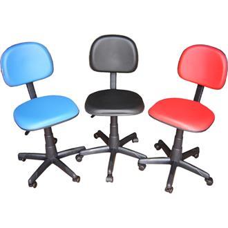 Imagem - Cadeira Secretária Giratória CS-02 em Couro Ecológico Azul CE151 Pethiflex cód: 501